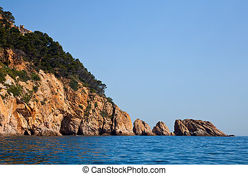 view of curvy shore line with cliffs at Costa Brava coast