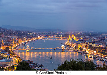 View of Danube river and Budapest