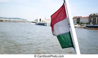 View of Danube River and Hungary flag