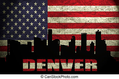 View of Denver City on the Grunge American Flag