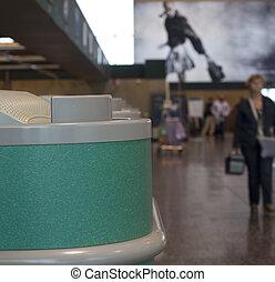 Desks in airport hall