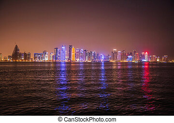View of Doha skyline at night