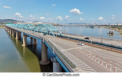 View of Dongjak bridge over Han river in Seoul