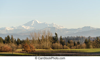 View of Mount Baker in Washington state from the Fraser Valley in British Columbia