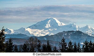 View of dormant volcano Mount Baker - View of Mount Baker in...