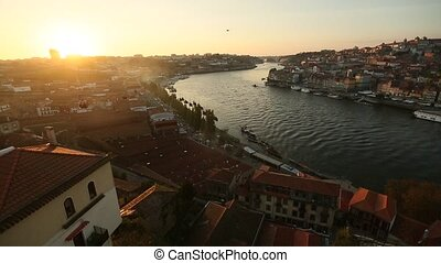 View of Douro river during sunset