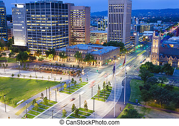 View of downtown area in Adelaide at twilight - View of...
