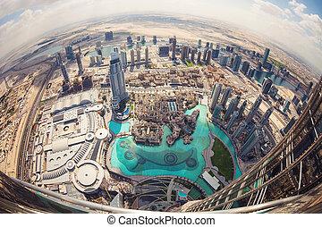 View of downtown Dubai from Burj Khalifa, United Arab...