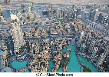View of downtown Dubai from Burj Khalifa, United Arab ...