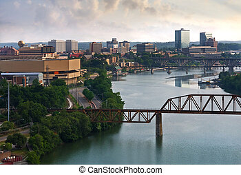 View of downtown Knoxville from a bluff above the Tennessee River.
