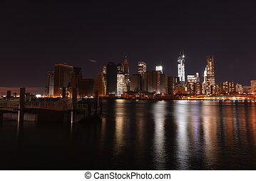 View of downtown Manhattan following Hurricane Sandy and ...