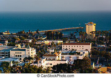 View of downtown Ventura and the Pacific Ocean from Grant Park,