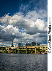 View of dramatic clouds over the Williamette River, in Portland, Oregon.