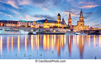 View of Dresden on Elbe, Saxony, Germany