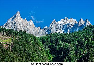 View of Dru Peak in Chamonix, Alps, France