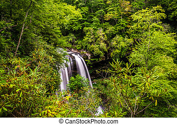 View of Dry Falls, in Nantahala National Forest, North...