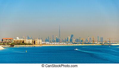View of Dubai Downtown from Palm Jumeirah island