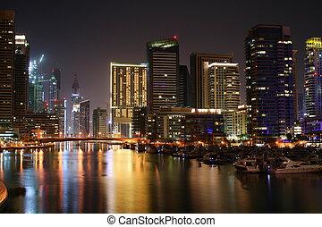 View of Dubai Marina at night