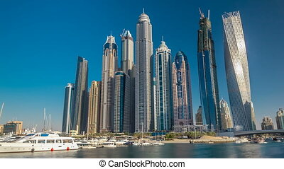 View of Dubai Marina tallest Towers in Dubai before sunset timelapse hyperlapse