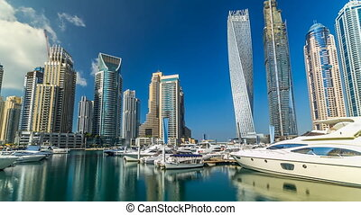 View of Dubai Marina tallest Towers in Duba timelapse...