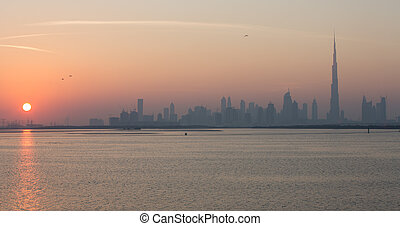 Burj Khalifa at sunset - view of Dubai skyscraper and Burj ...
