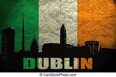 View of Dublin on the Grunge Irish Flag