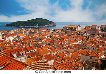 Dubrovnik old town and green island Lokrum