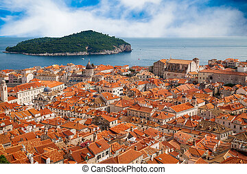 Dubrovnik old town and island Lokrum