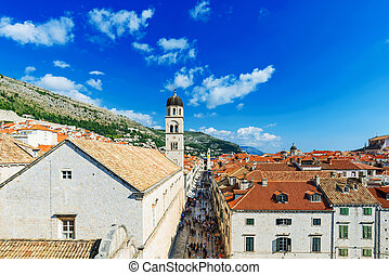 View of Dubrovnik old town on a sunny day
