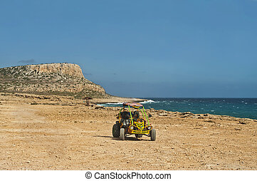 view of dune buggy and mountain