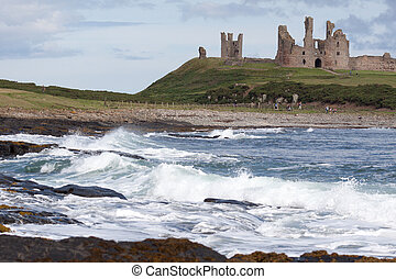 View of Dunstanburgh Castle at Craster Northumberland