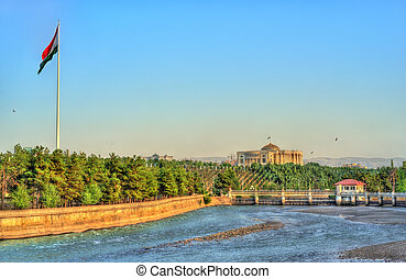 View of Dushanbe with the Varzob River and the Flagpole. The capital of Tajikistan, Central Asia