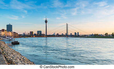 view of Dusseldorf at sunset