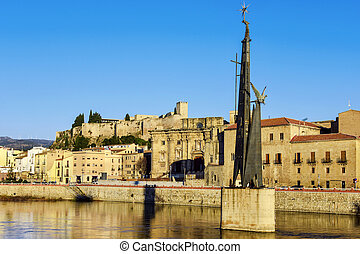 view of Ebro River and Tortosa, in Spain