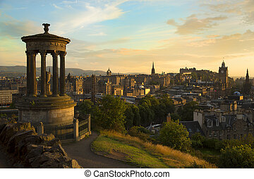 View of Edinburgh city from Carlton Hill - View of Edinburgh...