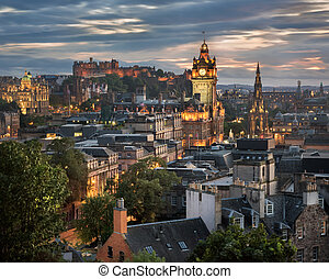 View of Edinburgh from Calton Hill in the Evening, Scotland,...