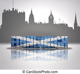 View of Edinburgh - Word Edinburgh with national flag of...