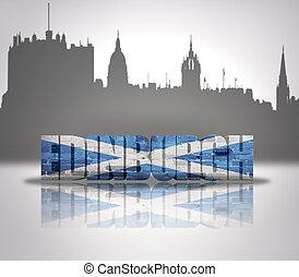 View of Edinburgh - Word Edinburgh with national flag of...