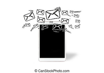 Email icons going out a tablet