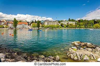 View of embankment in Lausanne - Switzerland