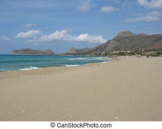 View of empty Falasarna beach in Crete, Greece