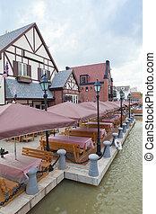 outdoor restaurant - View of empty outdoor restaurant in ...