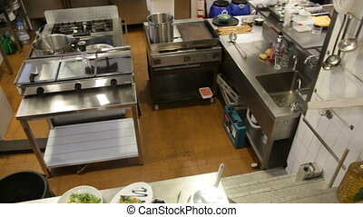 empty restaurant kitchen with professional equipment and ...