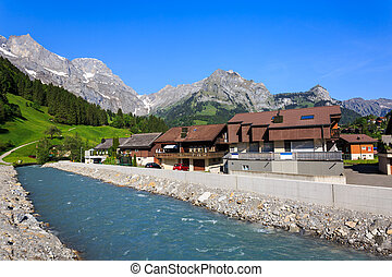 View of engelberg with the Mt. Titlis. - View of engelberg...