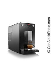 View of espresso americano coffee machine on white ...