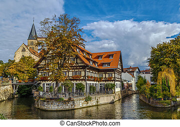 View of Esslingen am Neckar, Germany - View of channel with...