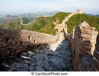View of evening Great Wall of China located in Hebei...