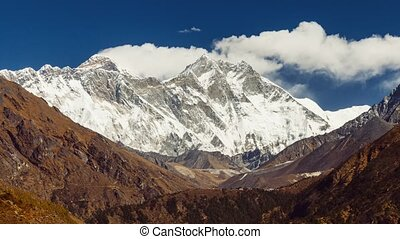 view of Everest on the way to Everest Base Camp - Nepal.