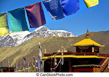 view of Everest with buddhist prayer flags from Muhtinath