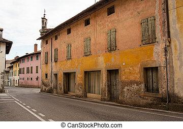 View of Fagagna houses, Town in Friuli Venezia Giulia. Italy